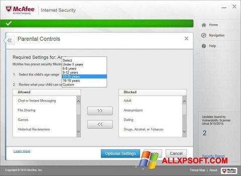 Zrzut ekranu McAfee na Windows XP