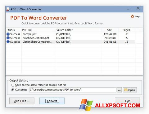 Zrzut ekranu PDF to Word Converter na Windows XP