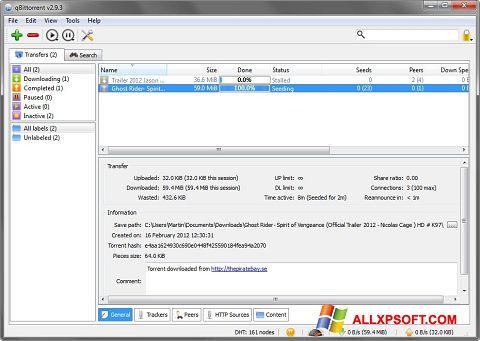 Zrzut ekranu qBittorrent na Windows XP