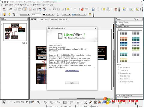 Zrzut ekranu LibreOffice na Windows XP