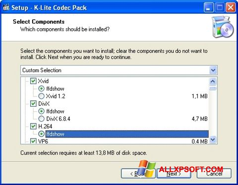 Zrzut ekranu K-Lite Codec Pack na Windows XP