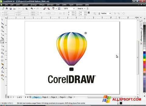 Zrzut ekranu CorelDRAW na Windows XP