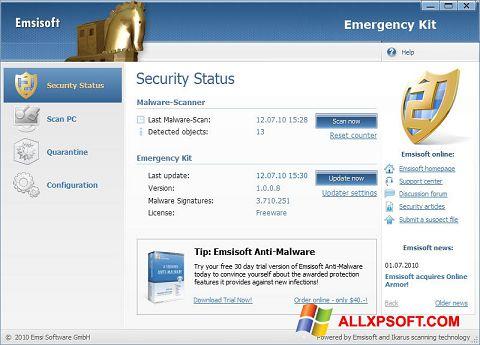 Zrzut ekranu Emsisoft Emergency Kit na Windows XP