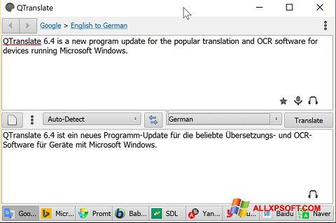 Zrzut ekranu QTranslate na Windows XP
