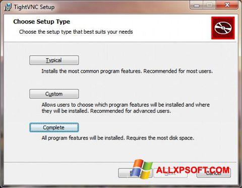 Zrzut ekranu TightVNC na Windows XP
