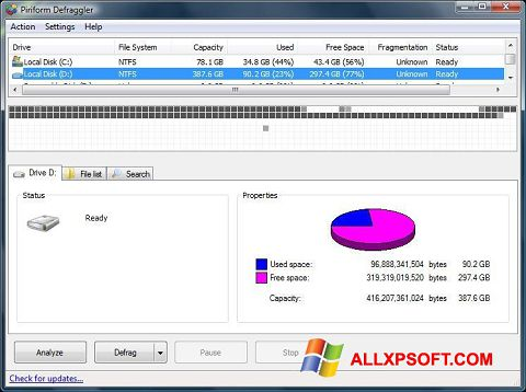 Zrzut ekranu Defraggler na Windows XP