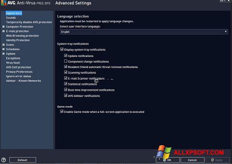 Zrzut ekranu AVG na Windows XP