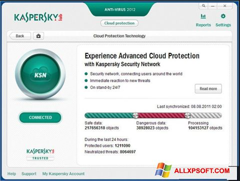 Zrzut ekranu Kaspersky na Windows XP