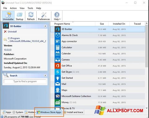 Zrzut ekranu Uninstall Tool na Windows XP