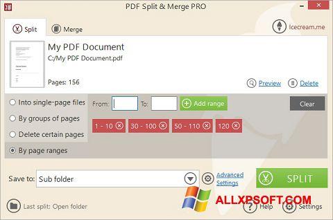 Zrzut ekranu PDF Split and Merge na Windows XP