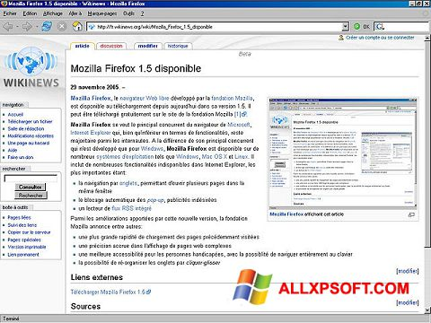 Zrzut ekranu Mozilla Firefox na Windows XP