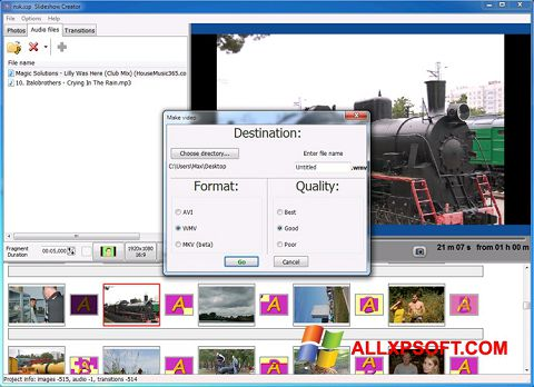 Zrzut ekranu Bolide Slideshow Creator na Windows XP