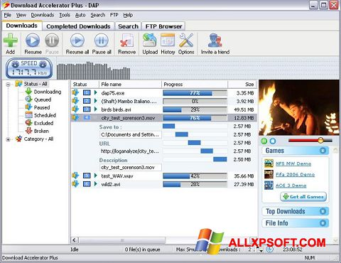 Zrzut ekranu Download Accelerator Plus na Windows XP