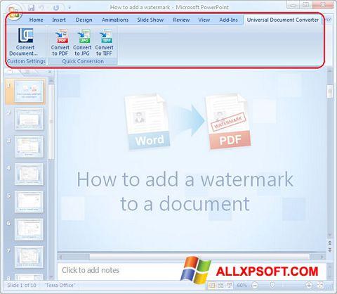 Zrzut ekranu Microsoft PowerPoint na Windows XP