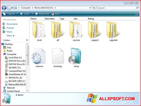 Zrzut ekranu Windows 7 USB DVD Download Tool na Windows XP