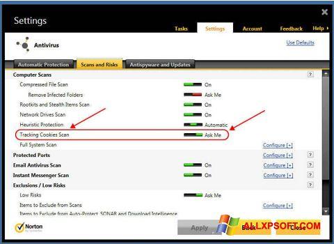 Zrzut ekranu Norton na Windows XP
