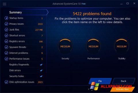 Zrzut ekranu Advanced SystemCare Free na Windows XP