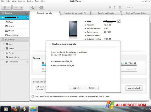 Zrzut ekranu LG PC Suite na Windows XP