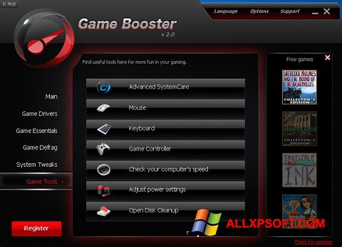 Zrzut ekranu Game Booster na Windows XP