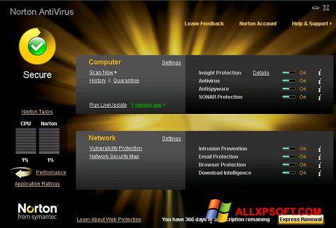 Zrzut ekranu Norton AntiVirus na Windows XP