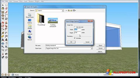 Zrzut ekranu Google SketchUp na Windows XP