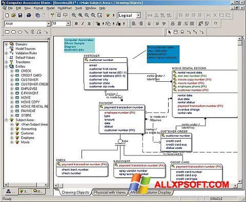 Zrzut ekranu ERWin na Windows XP
