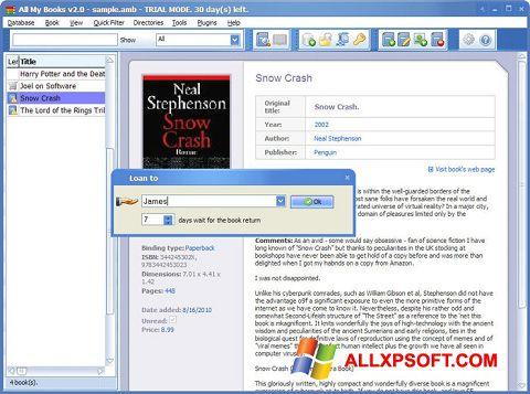 Zrzut ekranu All My Books na Windows XP