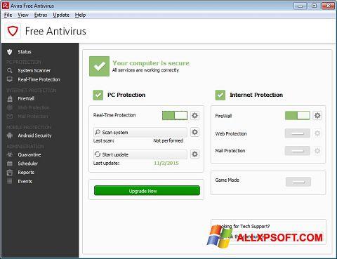 Zrzut ekranu Avira Free Antivirus na Windows XP