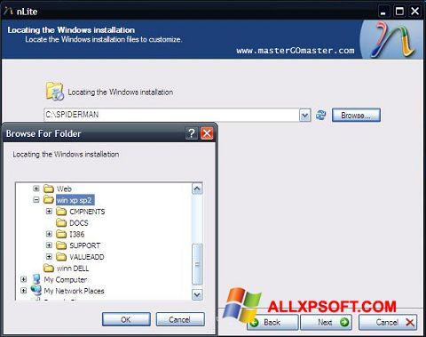 Zrzut ekranu nLite na Windows XP