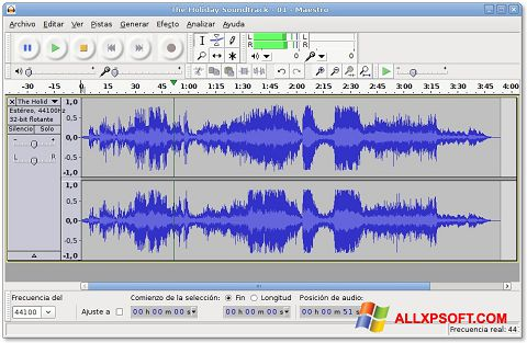 Zrzut ekranu Audacity na Windows XP