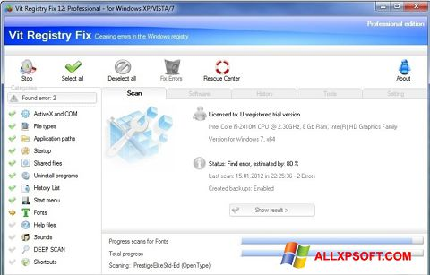 Zrzut ekranu Vit Registry Fix na Windows XP
