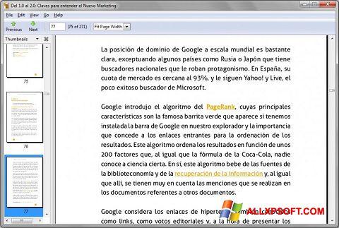 Zrzut ekranu Evince na Windows XP