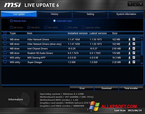Zrzut ekranu MSI Live Update na Windows XP