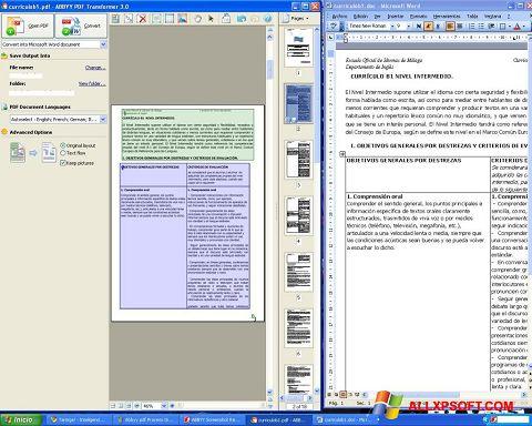 Zrzut ekranu ABBYY PDF Transformer na Windows XP