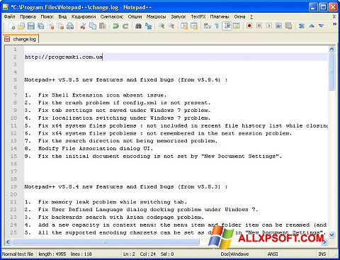 Zrzut ekranu Notepad++ na Windows XP