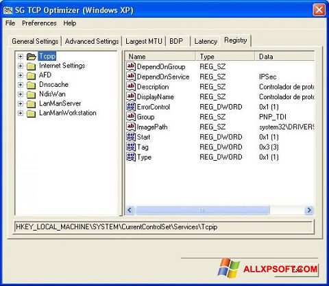 Zrzut ekranu TCP Optimizer na Windows XP